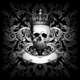 De kroon en het ornament van de schedel Stock Afbeeldingen