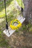 De kroon van de gele lente bloeit - paardebloemen op een houten schommeling in de tuin Stock Afbeeldingen
