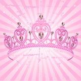 De Kroon van de prinses op radiale landhuisachtergrond Stock Foto's