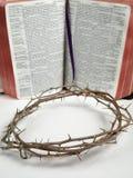 De kroon van doorn met een bijbel Royalty-vrije Stock Fotografie