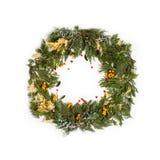 De kroon van het Kerstmiskader met altijdgroene spar Stock Foto