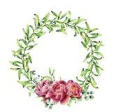 De kroon van het waterverfgroen met pioenbloemen en eucalyptus De hand schilderde bloemendiegrens op witte achtergrond wordt geïs Stock Foto's