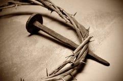 De kroon van Jesus-Christus van doornen en spijker Stock Foto's