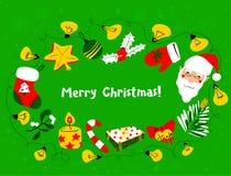 De kroon van Kerstmis Kader van de de winter het seizoengebonden groet met Santa Cla Stock Fotografie