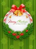 De kroon van Kerstmis met boog en gouden klokken vector illustratie