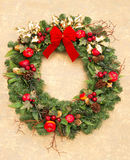 De kroon van Kerstmis met rood lint Royalty-vrije Stock Afbeelding