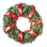 De kroon van Kerstmis met rood lint stock foto
