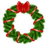 De kroon van Kerstmis met rood lint Stock Afbeelding