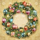 De kroon van Kerstmis met snuisterijen Royalty-vrije Stock Foto