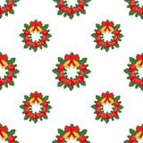 De kroon van Kerstmis Naadloze Achtergrond Vlakke stijl Vector Stock Afbeelding