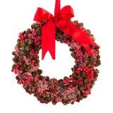 De kroon van Kerstmis van pijnboomappelen Stock Foto