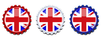 De kroonkurken van Union Jack Royalty-vrije Stock Afbeeldingen