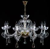 De kroonluchter van het elegantiekristal strass met acht lampen Royalty-vrije Stock Afbeeldingen