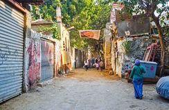 De krottenwijken van Kaïro Stock Foto's