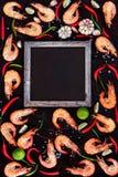 De kruiden van garnalengarnalen, kruiden en tekstruimte Stock Afbeeldingen