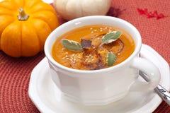 De kruidige Geroosterde Soep van de Pompoen Stock Foto