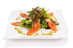 De kruidige Salade van de Zalm Stock Fotografie