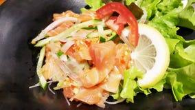 De kruidige Salade van de Zalm Royalty-vrije Stock Afbeeldingen