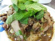 De kruidige Salade van het Varkensvlees stock foto
