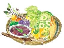 De kruidige salade van rijstvermicelli stock illustratie