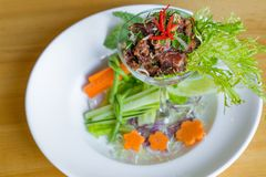 De kruidige Thaise salade van het cocktailrundvlees Stock Foto's