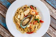 De kruidige zeevruchten van de spaghetti Stock Afbeelding
