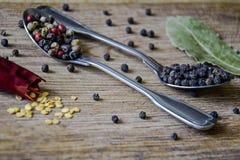 De de kruidmengeling en peperbollen in metaallepels, één gebroken peul van hete Spaanse peper met zaden en droog laurierblad royalty-vrije stock afbeeldingen