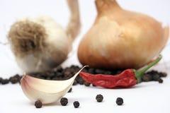 De kruidnagel en de peper van het knoflook Royalty-vrije Stock Afbeelding