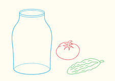De kruik, de komkommer en de tomaat van de krabbel Stock Foto's