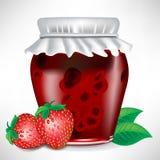 De kruik van de aardbei jam met fruit Royalty-vrije Stock Fotografie