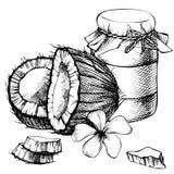 De kruik van de kokosnotenolie, melk Stock Foto