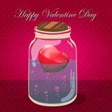 De kruik van de liefdefles met roze binnen harten Prentbriefkaar Stock Fotografie