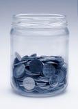 De kruik van de verandering in zwart-wit blauw Royalty-vrije Stock Afbeelding
