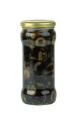 De kruik van het glas met gesneden zwarte olijven Royalty-vrije Stock Afbeeldingen
