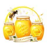 De kruik van het glas met honing Stock Foto