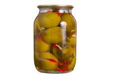 De kruik van het glas met ingeblikte groenten Royalty-vrije Stock Foto