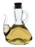 De kruik van het glas met witte wijnazijn Stock Foto