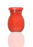 De kruik van het glas tomatenpuree Stock Afbeeldingen