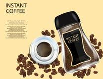 De Kruik van het koffieglas met Wit GLB, Onmiddellijke die Koffiekorrels en Koffiebonen op Gele Achtergrond wordt geïsoleerd vector illustratie