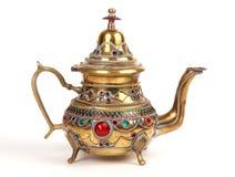 De kruik van het koper met traditionele Arabische ornamenten stock afbeelding