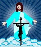 De kruisiging en de verrijzenis van Jesus Christ Stock Foto's