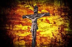 De Kruisiging Jesus op dwarsgrunge Stock Afbeelding