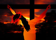 De kruisiging van Jesus Stock Afbeelding
