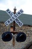 De kruising van de spoorweg Stock Afbeeldingen