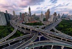 De kruising van Weg, Shanghai Stock Afbeeldingen
