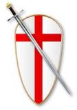 De kruisvaarders beschermen en Zwaard vector illustratie