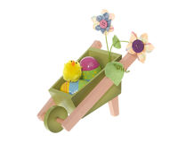 De kruiwagen van het Wiel van de Decoratie van Pasen met Eieren en Kuiken Stock Fotografie