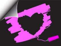De krul van de het hartpagina van de valentijnskaart Stock Foto