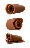 De Krullen van de chocolade die op een witte backgroun worden geïsoleerdl Royalty-vrije Stock Afbeeldingen