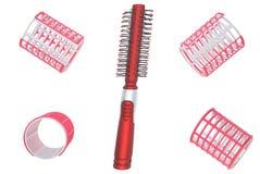 De krulspelden en de haarborstel van het haar. Royalty-vrije Stock Afbeeldingen
